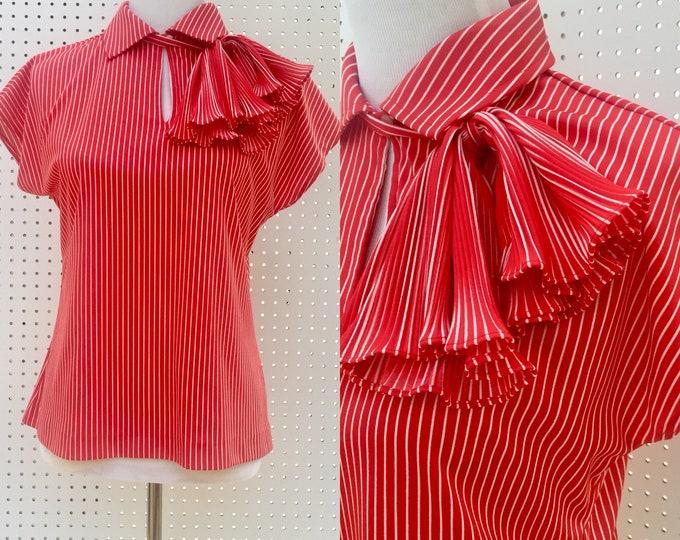 Vintage Mardi Modes Top, Women's Size 6, 1970s Women's Retro Top, Vintage Ruffled Women's Top, Vintage Summer Top, Vintage Red Blouse