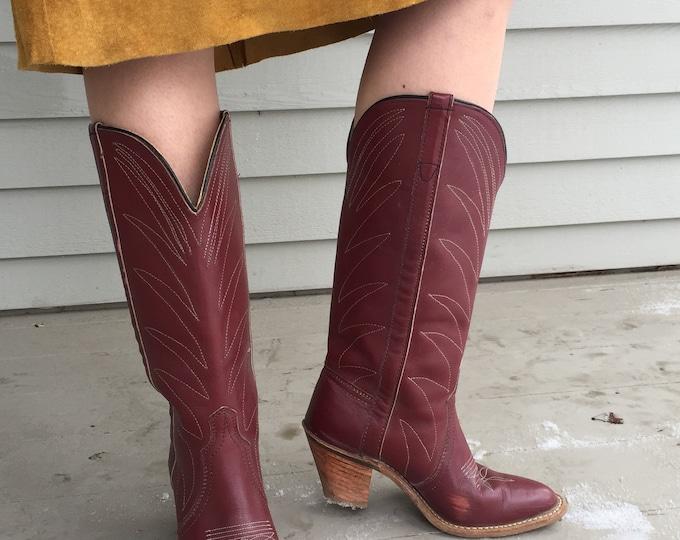 Vintage 1970s Cowboy Boots, Women's Vintage Cowboy Boots, Women's Size 6.5, Vintage Cognac Brown Cowboy Boots, Vintage Heeled Boots