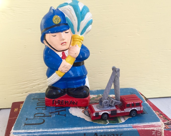 Vintage Fireman Bank, Vintage Firefighter Bank, Vintage Chalk Ware Children's Money Bank, Arrow Intl Bank