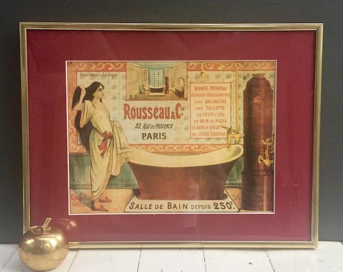 Vintage French Bathroom Picture, Vintage French Wall Decor, Vintage French Bathroom Decor, Vintage Paris Bathroom Picture