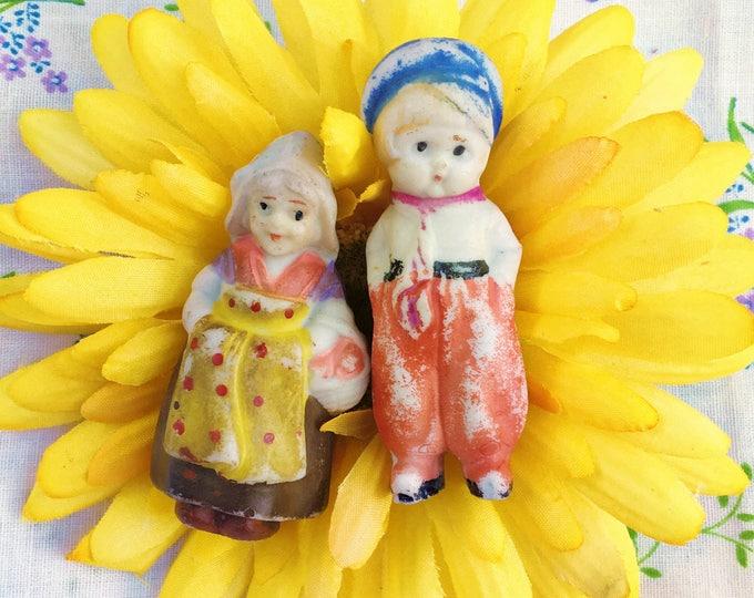 Vintage 1940s Dutch Bisque Doll Couple, Vintage Bisque Dutch Boy and Girl Doll, Bisque Doll Pair