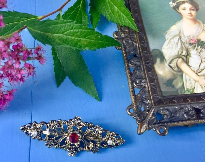 Vintage Art Deco Brooch, Vintage Red Jewel and Pearl Brooch, Vintage Gold Plated Jewelry, Vintage Art Deco Pin, Vintage Brooch, Vintage Pin