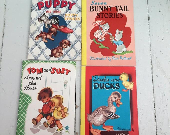 Vintage 1950s Children's Books, Set of Four, 1950s Blue Bird Books for Children, 1950s Ephemera, 1950s Children's Ephemera