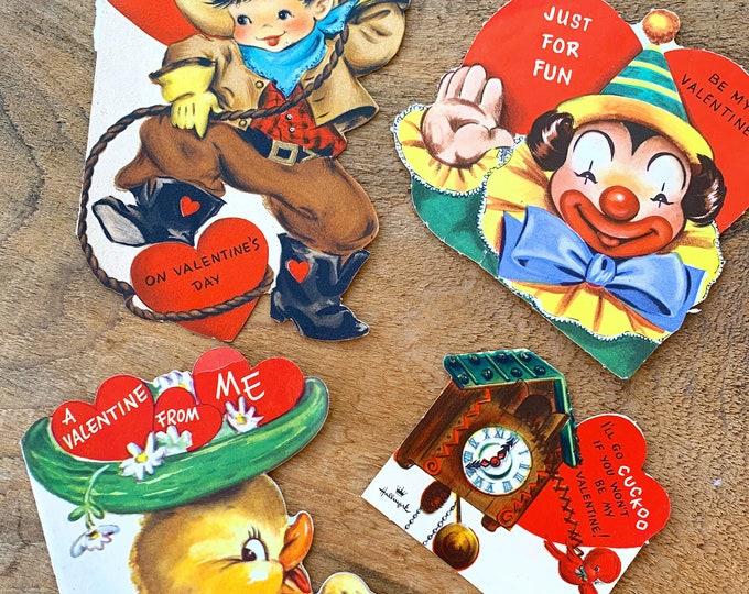 Vintage Valentine's Card Lot, Four Vintage Valentine's Day cards
