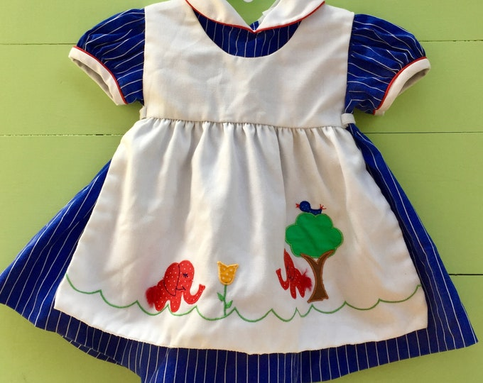 Vintage Baby Togs Dress, Size 12 months, Vintage Apron Baby Dress, Vintage Embroidered Baby Dress, Vintage Animal Embroidered Baby Dress