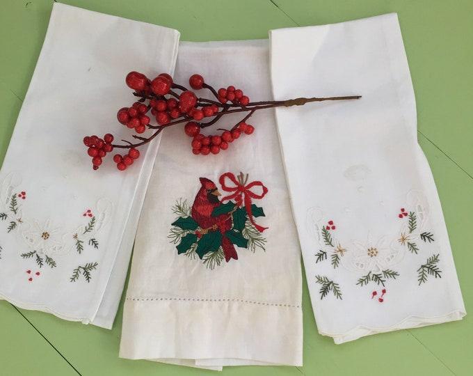 Vintage Christmas Linens, Set of Three, Embroidered Christmas Tea Towels, Embroidered Christmas Linens