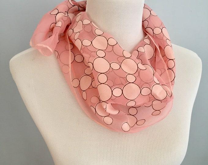 Vintage Scarf, Vintage Polka Dotted Scarf, Vintage Pink Polka Dot Scarf, 1960s Scarf, Vintage Mod Scarf