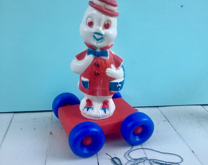 Vintage 1950s Pull Toy, Vintage Tico Toys Duck Pull Toy, Vintage Blow Mold Duck Toy, Patriotic Blow Mold