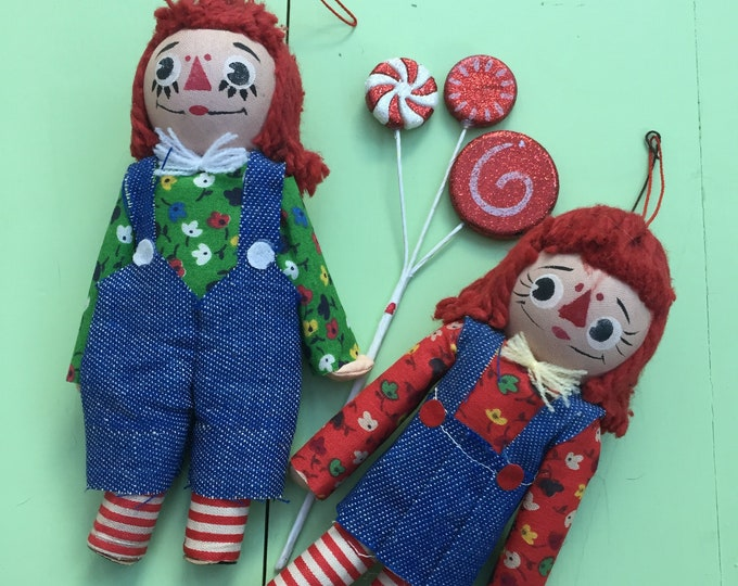 Vintage 1970s Raggedy Ann and Andy Christmas Ornaments, 1970s Doll Christmas Ornaments, 1970s Christmas Decor