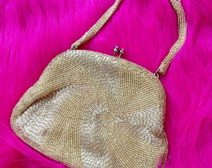 Vintage 1960s Gold Beaded Handbag, Vintage Gold Evening Bag, Vintage Beaded Purse