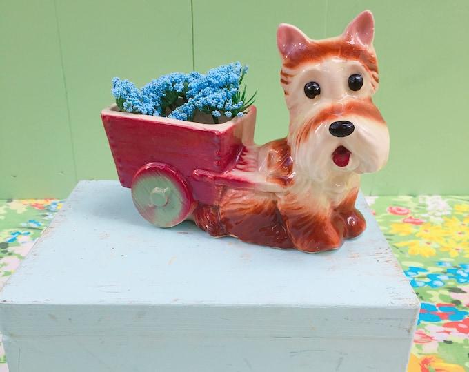 Vintage 1960s Ceramic Dog with Cart, Vintage Terrier Dog Planter