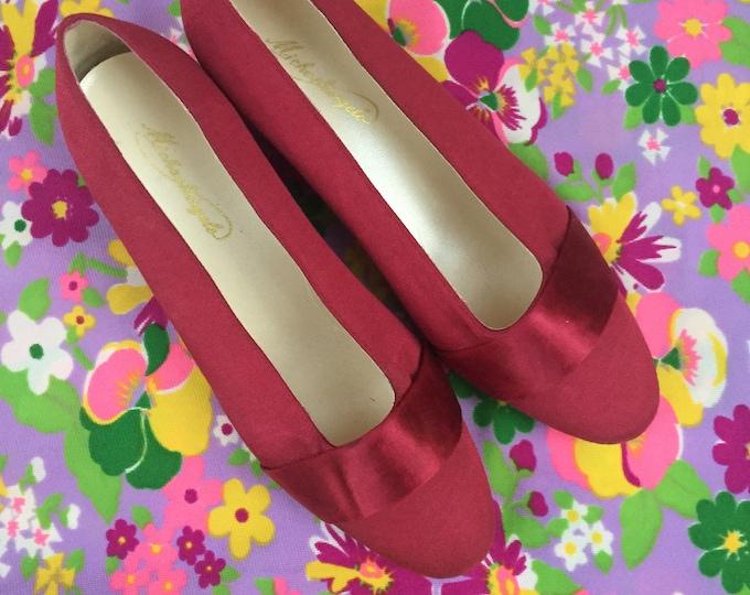 Vintage MIchaelangelo Heels, Women's Size 7, Vintage Burgundy Heels, Vintage Satin Heels, Retro Heels