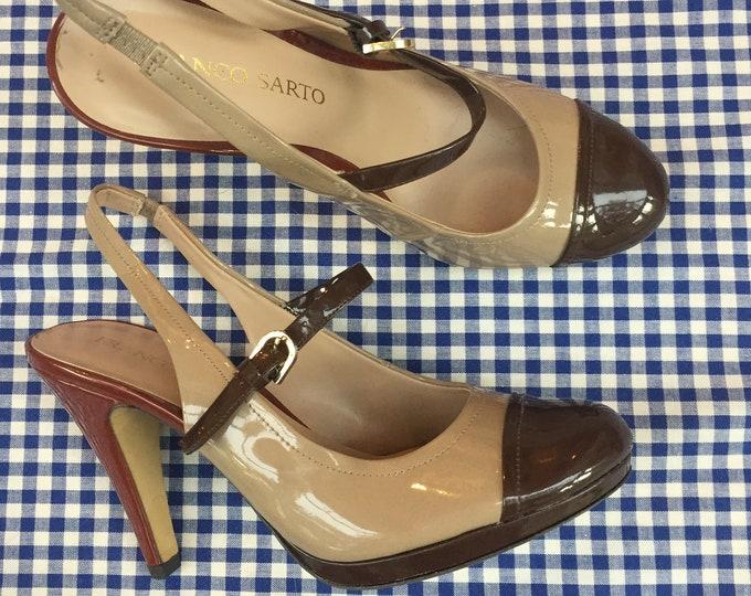 Vintage Franco Sarto Platform Heels, Women's Size 7, Vintage Platform Heels, Vintage Brown Platform Heels, Vintage Colorblock Pumps