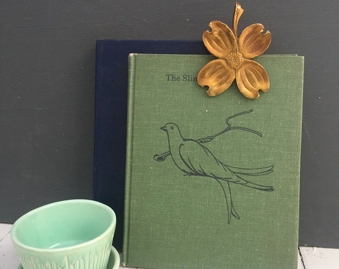 Vintage Dogwood Blossoms Brass Clip, Vintage Brass Paper Clip, Mid Century Brass Clip, Vintage Office Supplies
