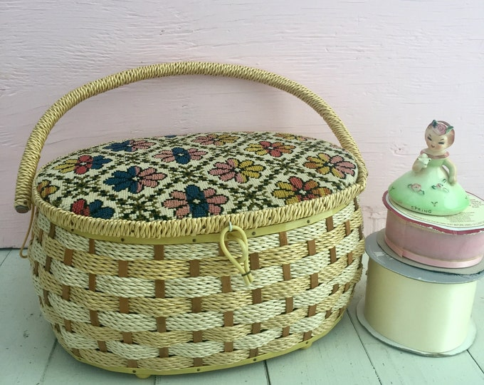 Vintage 1960s Singer Sewing Basket, Vintage Sewing Basket, Vintage Sewing Box, Floral Sewing Basket