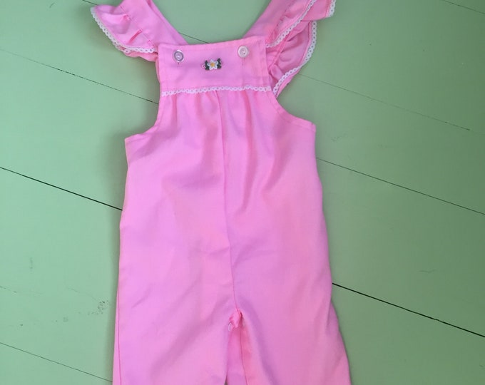 Vintage 1970s Toddler Girl Overalls, Size 24 months, Vintage Pink Toddler Overalls, Vintage Toddler Girl Outfit, Retro Toddler Overalls