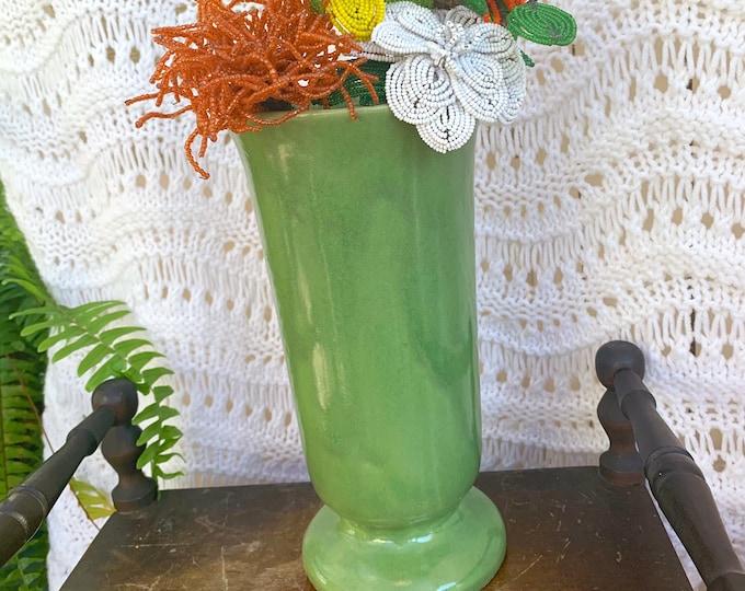 "Vintage USA Pottery Vase, Tall Green USA Vase, Green Pottery Pedestal Vase, Mid Century Modern Green Vase, 9.75"" Vase"