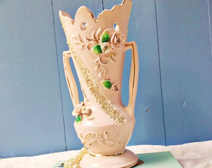 Vintage 1950s Pink Floral Handled Vase, Vintage Shabby Chic Pink Vase, Vintage Cottage Chic Vase, Mid Century Vase, Vintage Rose Vase