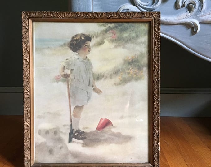 Vintage 1920s Little Girl Picture, Vintage Little Girl Wall Decor, Vintage Baby Nursery Wall Picture, 1920s Beach Scene Picture