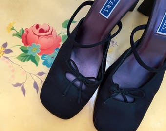 Vintage Black Satin Slides, Women's Size 8.5 M, Vintage Baker's Black Heels, Vintage Black Pumps with Bows