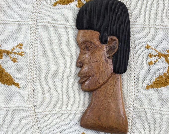 Vintage African Hand Carved Wooden Wall Hanging, African Male Face, Mid Century Wooden Wall Decor