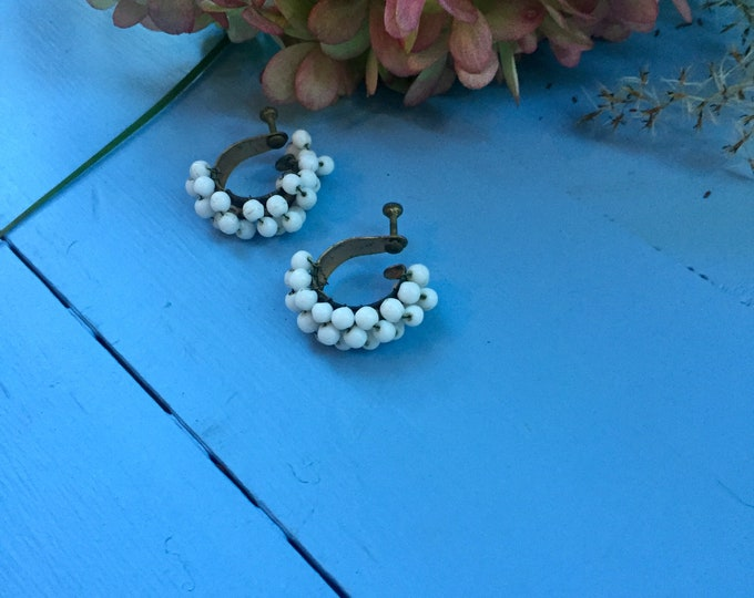 Vintage 1930s Glass Beaded Earrings, Vintage White Glass Beaded Earrings, Vintage Beaded Earrings, Vintage Bridal Earrings