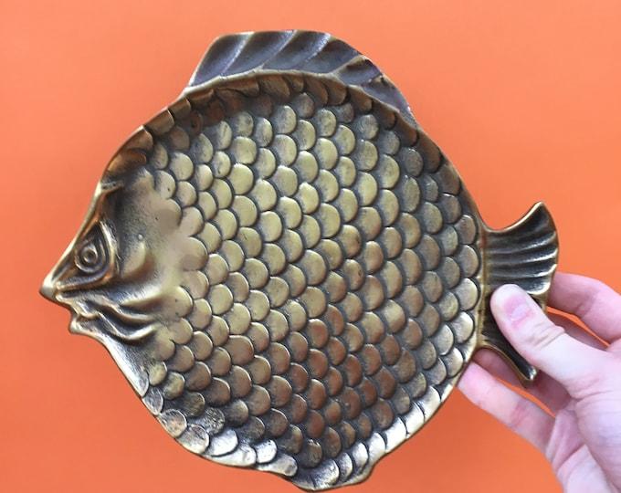 Vintage Brass Fish Tray, Large Brass Fish Trinket Dish, Brass Boho Chic Decor, Nautical Decor, Lakehouse Decor