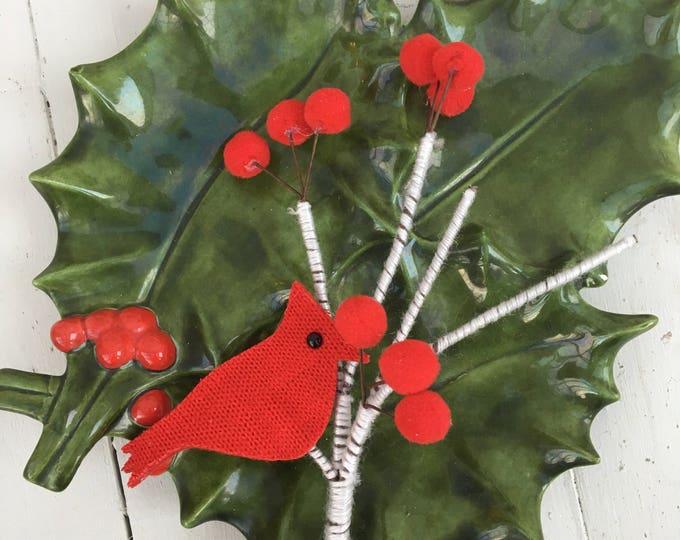 Vintage Mistletoe Tray, Vintage Christmas Mistletoe Tray, Vintage Christmas Kitchen Decor, Vintage Christmas Decoration