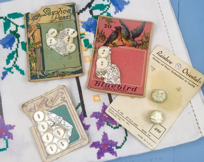 Vintage Mother-of-Pearl Button lot, Vintage Button Lot, 1920s Buttons, Vintage Pearl Button Lot