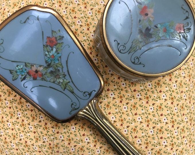 Vintage Art Deco Vanity Set, Vintage Vanity Brush and Dish, Vanity Trinket Dish, Vintage Boudoir, Vintage Vanity Decor