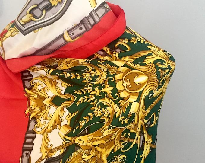 Vintage Scarf, Vintage Coat of Arms Scarf, Vintage Silk Scarf, Vintage Accessories, Vintage Fashion Scarf