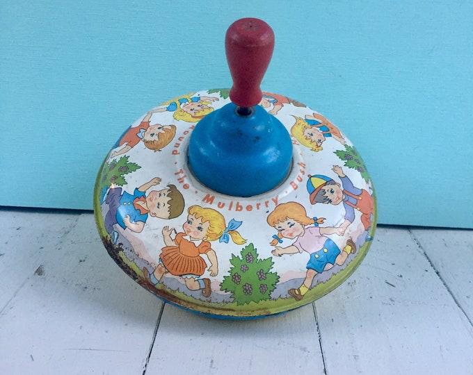 Vintage 1950s Tin Litho Toy Top, Vintage Ohio Art Toy Top, Vintage Spinning Top, 50s Toy, Vintage Collectible Toy