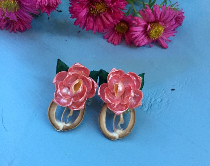Vintage 1930s Earrings, Antique Rose Earrings, Vintage Shell Carved Earrings, Antique Earrings, Vintage Clip-on Earrings
