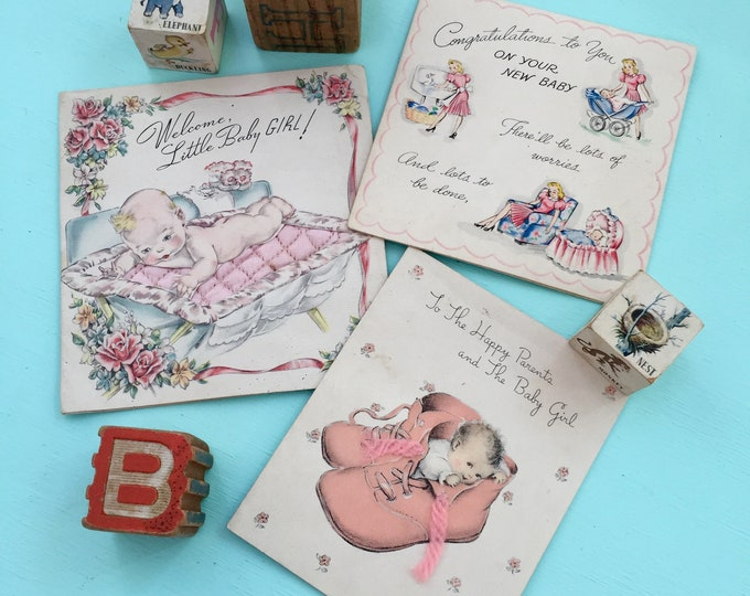 Vintage 1940s Baby Cards, Vintage New Baby Arrival Greeting Cards, 1940s New Baby Cards