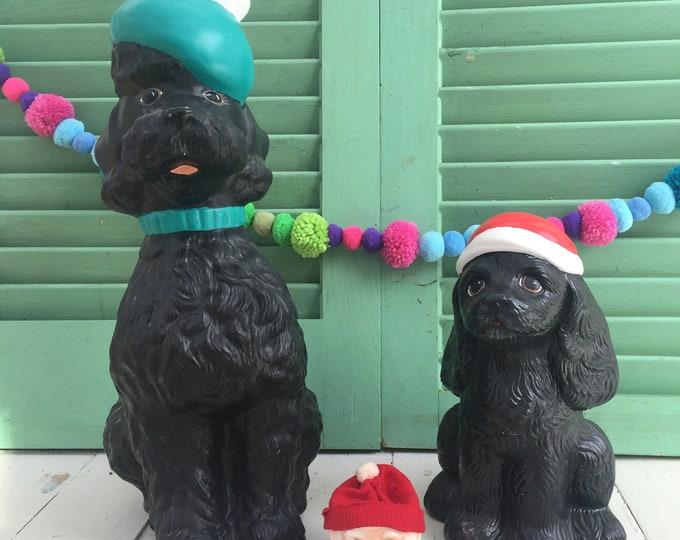 Vintage Christmas Dog Statues, Set of Two, Vintage Holiday Dog Figurines, Vintage Christmas Decor, Vintage Dog Decor