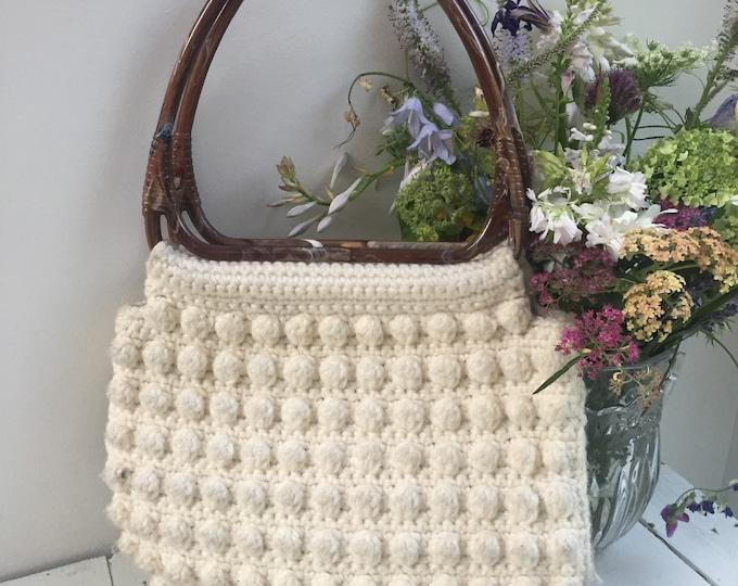 Vintage Crocheted Handbag, Vintage Gino R'de Moni Paris Bag, Vintage Crocheted Purse with Brown Plastic Handles