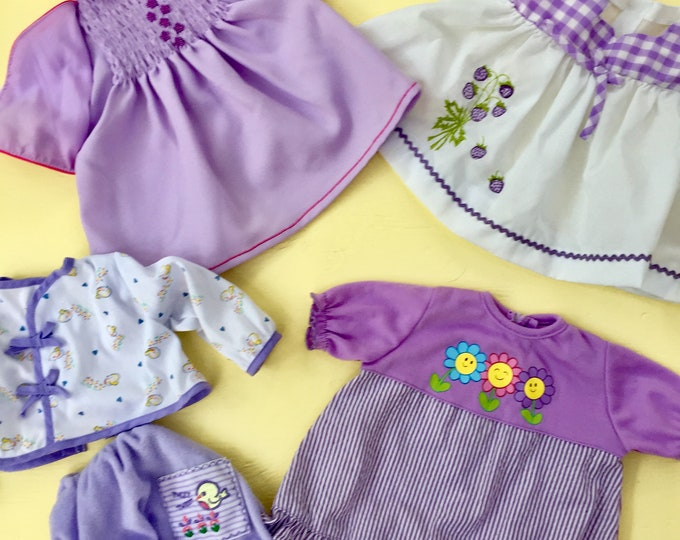 Vintage Baby Doll Clothing Lot, 1970s Baby Doll Clothing, Vintage Baby Doll Dresses Pajamas, Vintage Purple Doll Clothes