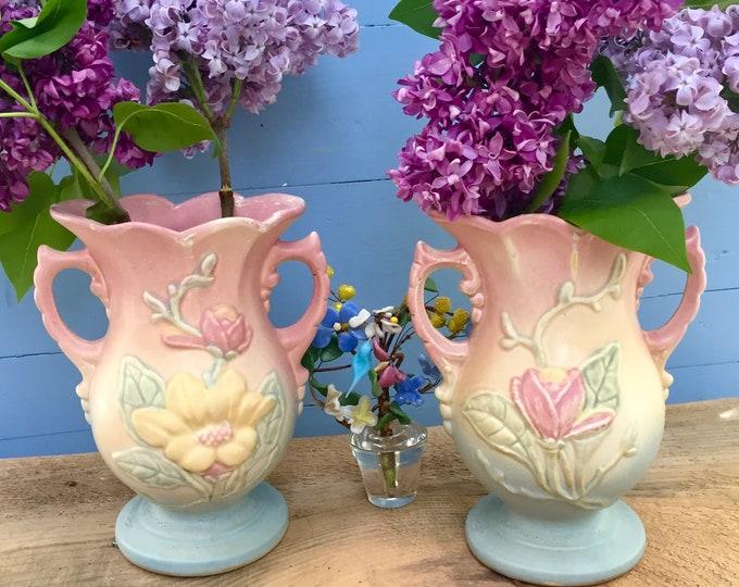 Vintage Hull Magnolia Vases, Pair of Hull Vases, Vintage Pottery Vases, Hull Pottery Vase, Hull Pottery Magnolia Vase Set