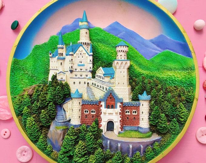 Vintage Neuschwanstein Castle Decorative Plate, Lenox Plate Enchanted Towers Plate Collection, Little Girl Castle Bedroom Decor, 3-D Castle