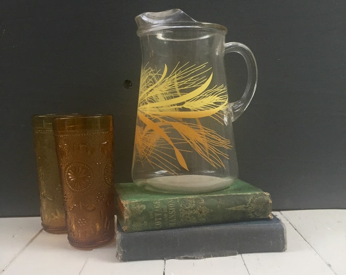 Vintage Libbey Golden Wheat Pitcher, Vintage Glass Pitcher, Vintage Wheat Pitcher, Vintage Libbey Pitcher, Mid Century Modern Pitcher