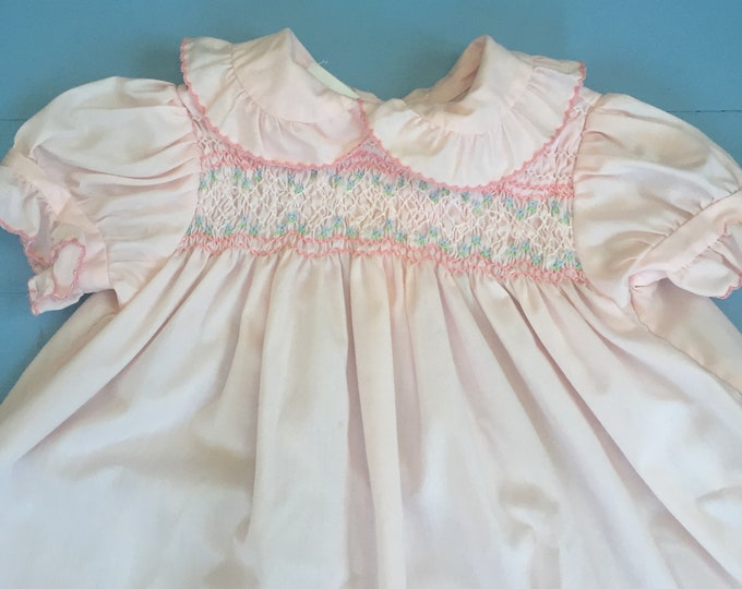 Vintage 1970s Polly Flinders Baby Dress, Size 24 months, Vintage Toddler Dress, Vintage Smocked Baby Dress