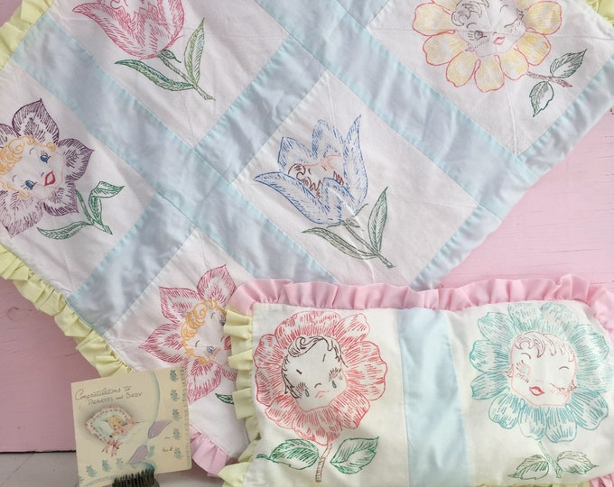 Vintage 1950s Baby Girl Quilt and Pillow, Vintage Kitschy Baby Quilt, Vintage Anthropomorphic Decor, Vintage Kitschy Nursery Decor