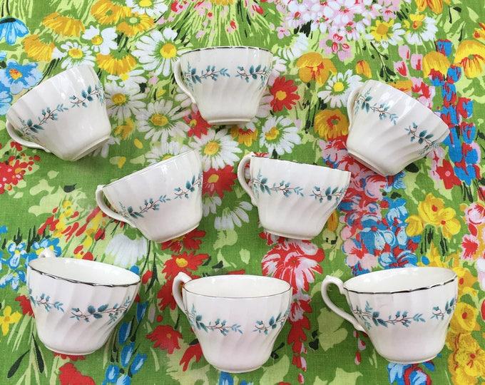 Vintage 1930s Rare Myott Olde Chelsea Staffordshire Bluebell Teacups, Set of Eight, Vintage Myott Coffee Cups, 1930s Teacups Lot