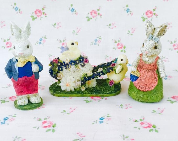 Vintage Russ Olde World Heritage Easter Decorations, Set of 3, Easter Animals, Easter Figurine, Easter Bunny Knick Knack