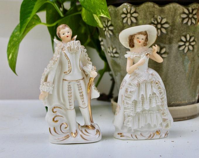 Vintage Victorian Couple Figurine, Vintage Porcelain Victorian Couple Knick Knack