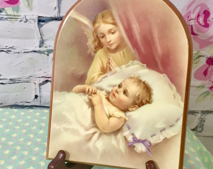 Vintage Guardian Angel and Baby Picture, Italian Religious Picture, Baby Baptism Christening Gift, Baby Easter Gift, New Baby Religious Gift