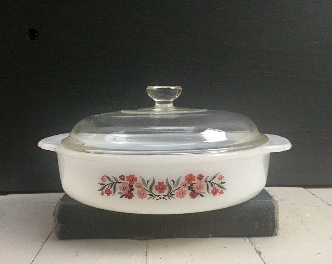Vintage Fire King Primrose Casserole Dish with Glass Lid, Vintage Fire King with Lid, Fire King Casserole Dish