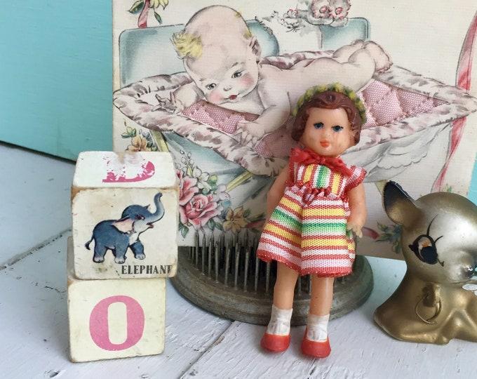 Vintage German Dollhouse Doll, Rubber Dollhouse Doll, 1950s Dollhouse Doll, Collectible Doll, Vintage Miniature Doll