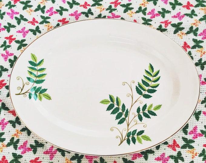 Vintage 1950s Edwin Knowles Leaf Serving Platter, Fernwood Serving Platter, Mid Century Serving Dish, Mid Century Kitchen Accessory