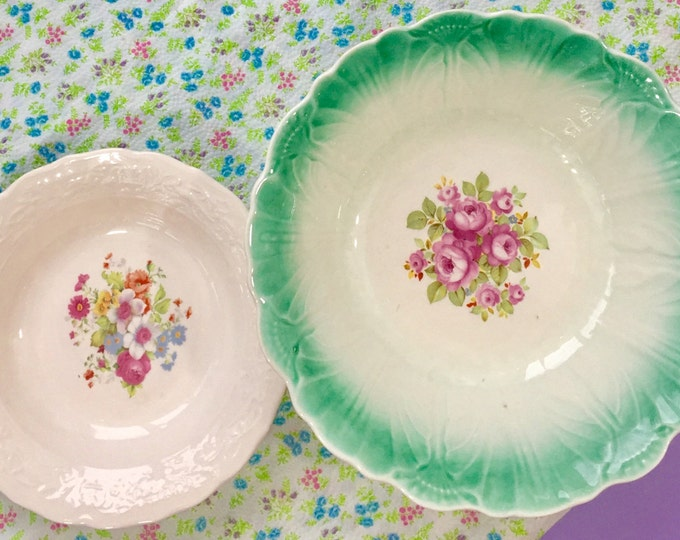 Vintage Cottage Chic Bowls, Set of Two, Ceramic Floral Bowls, Vintage Kitchen Accessories, Cottage Chic Kitchen, Farmhouse Bowls